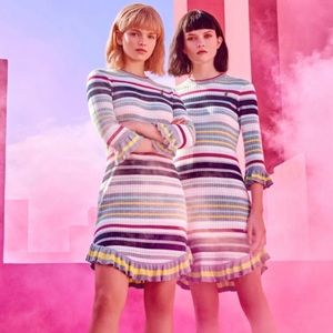 NWT Ted Baker striped knit dress with frills